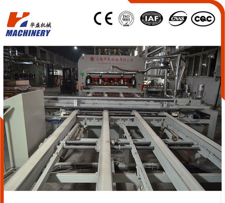 China 7'X9' Semi - Auto Short Cycle Press Lamination Line For Furniture Board factory
